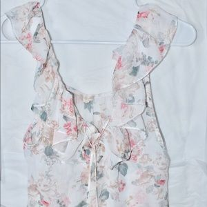 Altar'd State Floral Ruffle Tie Top